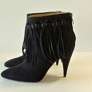 Black Fringed Suede Ankle Boots! EUC!
